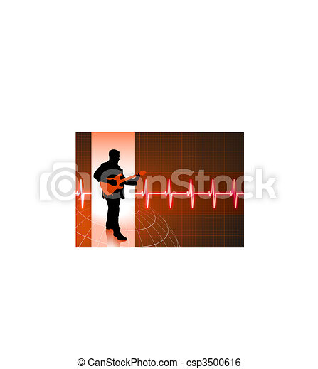 business people on pulse background - csp3500616