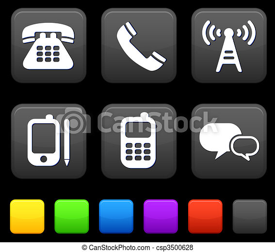 Technology Icons on Square Internet Buttons - csp3500628