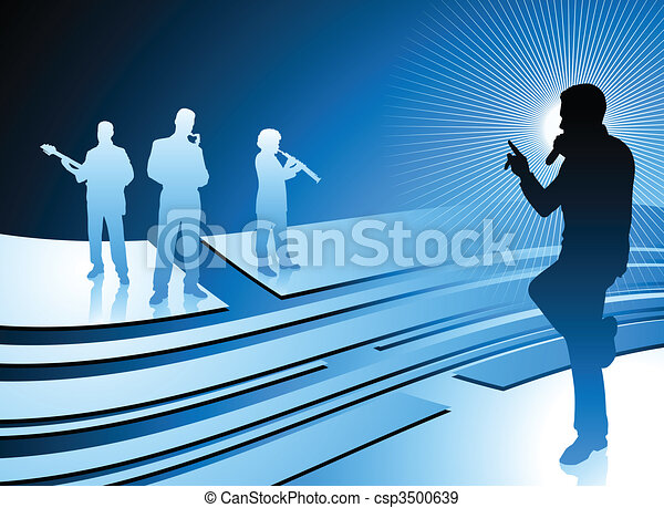 singer and band on abstract internet blue background - csp3500639
