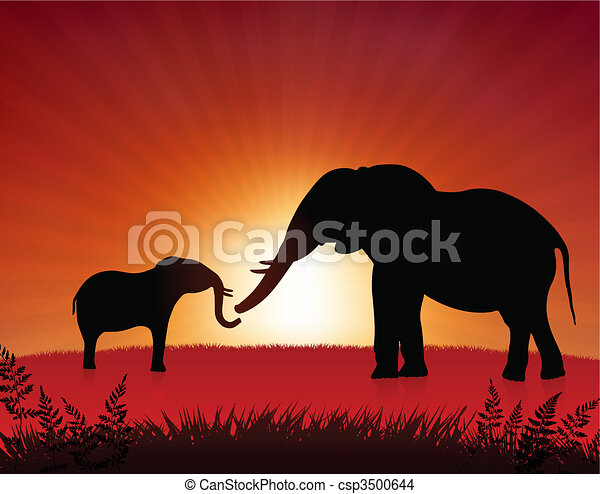 mother elephant with baby on sunset background - csp3500644