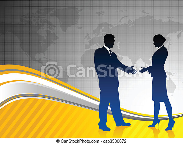 business team silhouettes on world map background - csp3500672