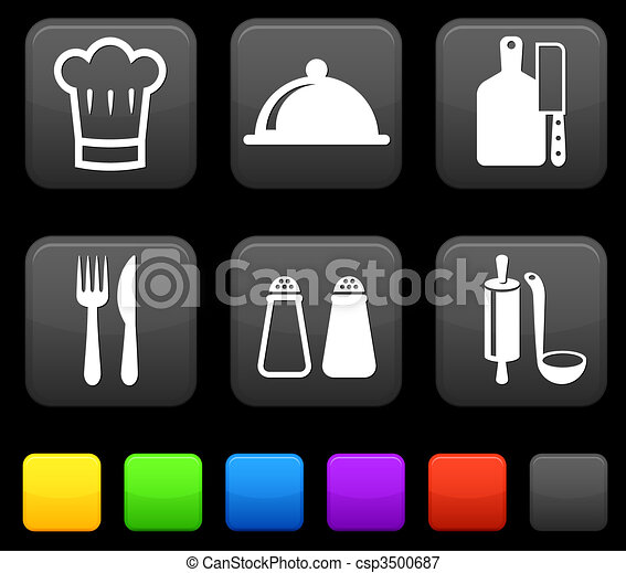 Food Icond on Square Internet Buttons - csp3500687
