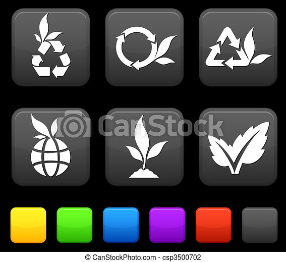 Nature Environment icons on square internet buttons - csp3500702
