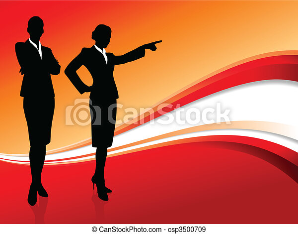 businesswoman executive on abstract red background - csp3500709