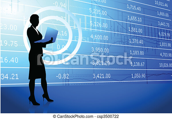 businesswoman holding laptop on stock market background - csp3500722