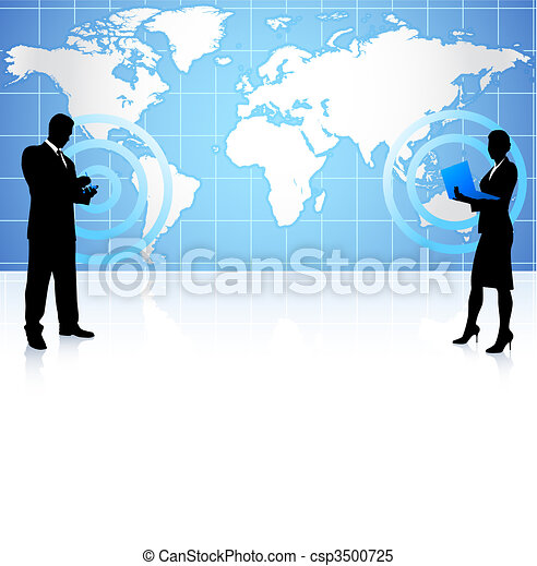 businessman and businesswoman on global communication - csp3500725
