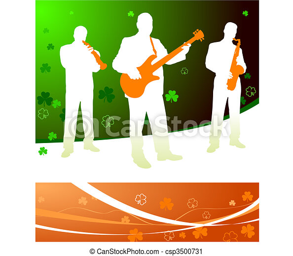 live irish band on abstract celtic background - csp3500731
