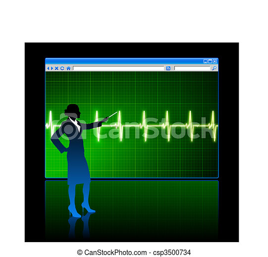 Original Vector Illustration: Business woman on background with web browser internet pulse page AI8 compatible - csp3500734