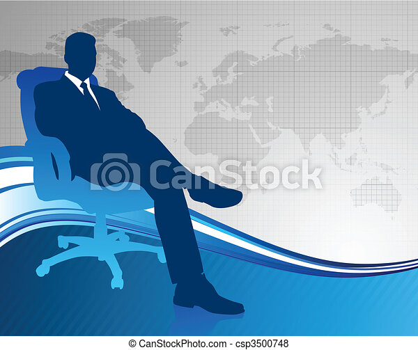 Business executive on global communication background - csp3500748