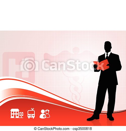 Public speaker silhouette on medical report background - csp3500818