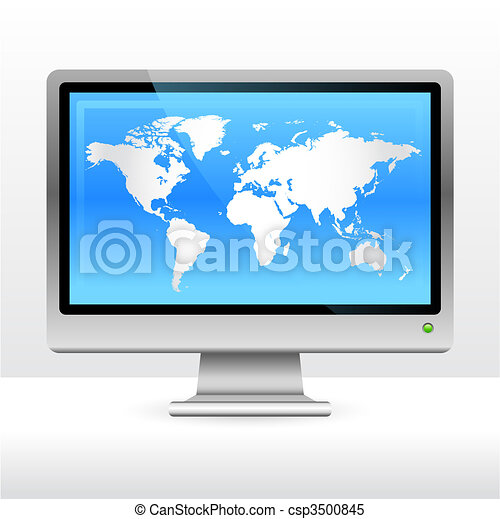 Computer monitor with world map - csp3500845