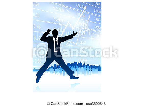 Original Vector Illustration: excited businessman with skyline and graph on internet background AI8 compatible - csp3500848