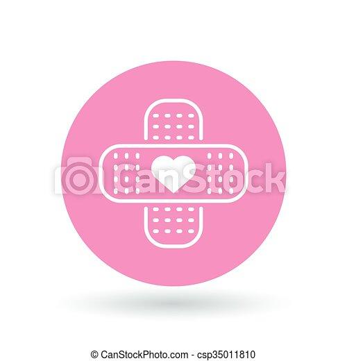 Band aid plaster heart icon. Bandage plaster love sign. Band aid plaster symbol. Vector illustration. - csp35011810