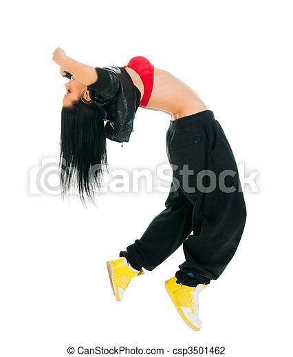 Active hip-hop dancer on white - csp3501462