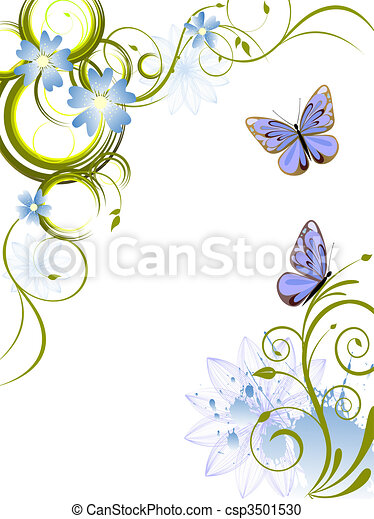 flowers and butterflies - csp3501530