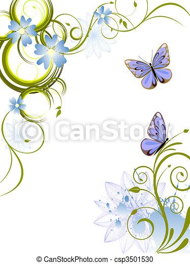 flowers and butterflies - csp3501530