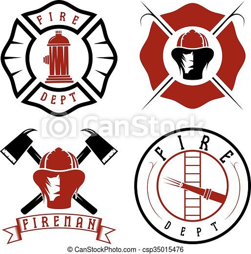 Set of fire department emblems and badges - csp35015476
