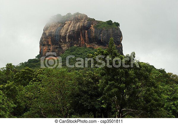 Sigiriya - Lion's rock in Sri Lanka, ancient fortress and buddhist monastery.The Sigiriya was built during the reign of King Kassapa I and it is one of the seven World Heritage Sites of Sri Lanka. - csp3501811