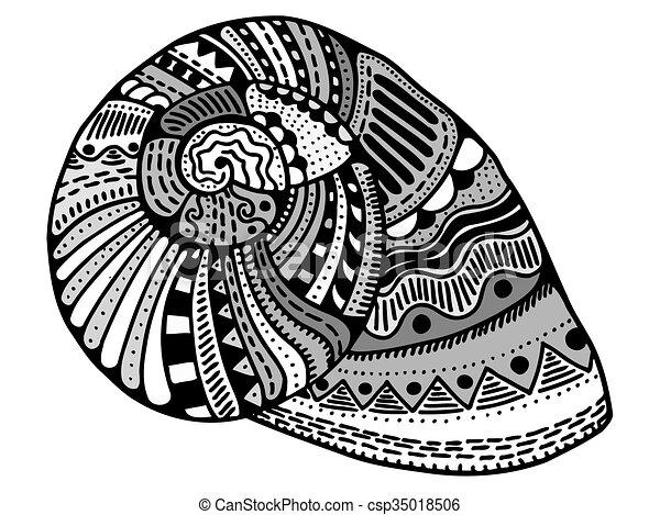 Zentangle stylized shell - csp35018506