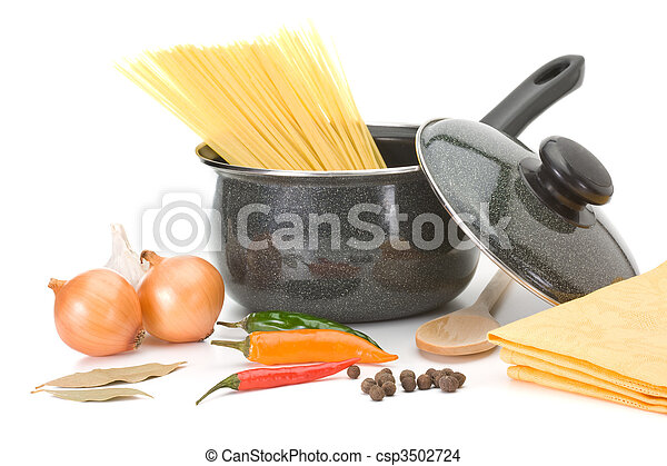 Saucepan with ingredients for chicken soup - csp3502724