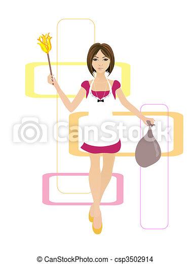 Eps vector de ama de casa ilustraci n de un limpieza - Imagenes de limpieza de casas ...