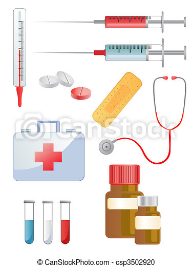 Vector Clipart of medical equipment - illustration of different ...