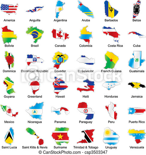 american flags in map shape with details - csp3503347