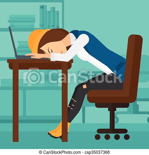 foto de Clip Art Vecteur de Lieu travail femme dormir fatigué
