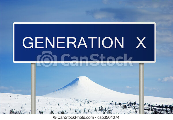 Road sign with text Generation X - csp3504074