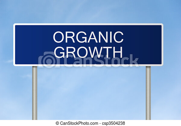 Road sign with text organic growth - csp3504238