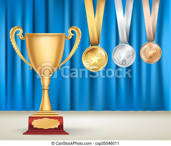 Vector clip art de trofeo, dorado, conjunto, taza, colección, azul ...