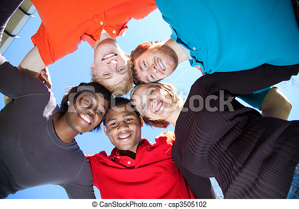 Faces of smiling Multi-racial college students - csp3505102