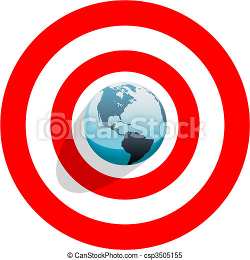 Earth at center of bulls eye on red world target - csp3505155