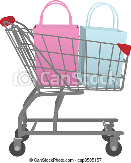 Go shop with cart big retail shopping bags - csp3505157