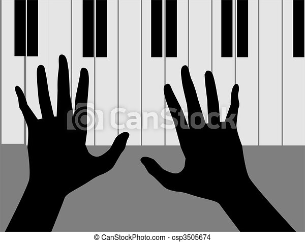 Drawing of hands playing piano - Illustration of ...