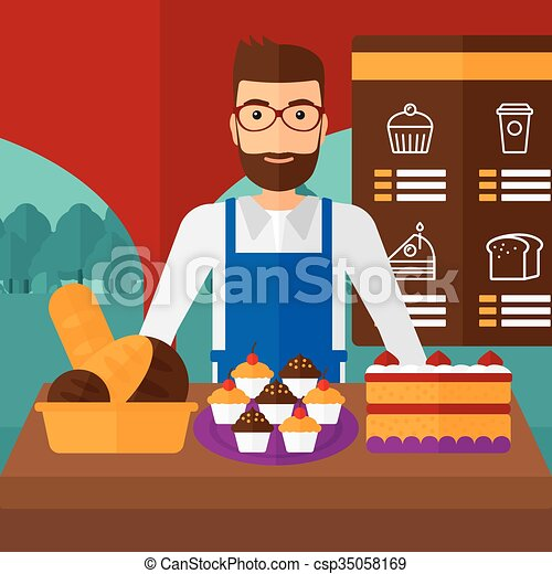 Clip Art Vector of Successful small business owner. - A hipster ...