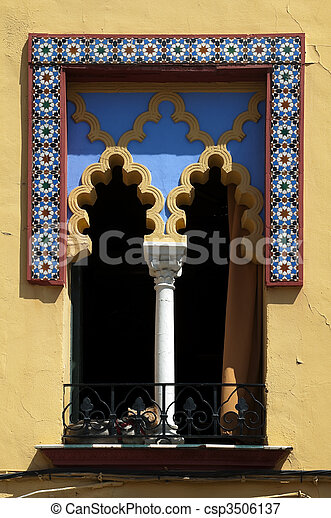 Arabic arched windows and geometric tiles - csp3506137