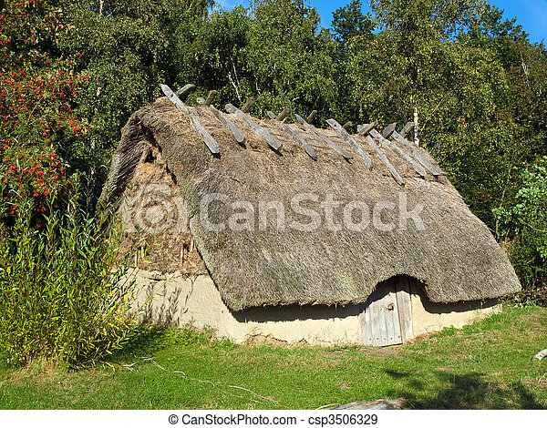 Stock Photographs of Viking age house in a village - Traditional ...