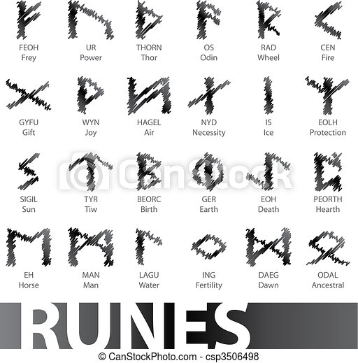 set of runes vector - csp3506498