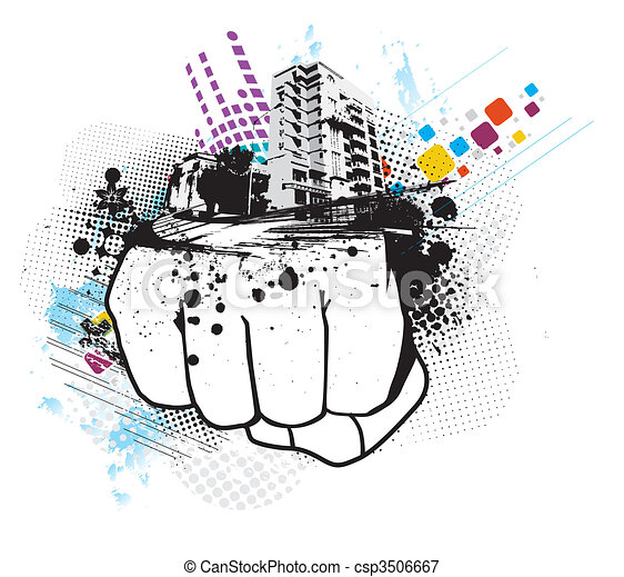 Stock Illustrations Of Urban Design Grunge Hand Punch With Urban City Csp3506667 Search