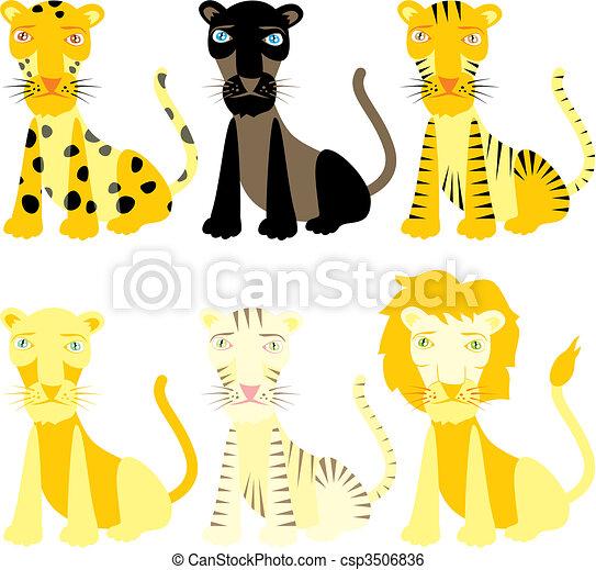 vector illustration felines - csp3506836