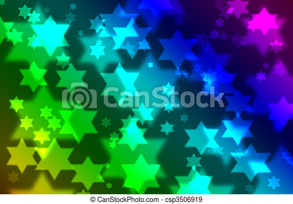 Jewish star celebration background bokeh - csp3506919