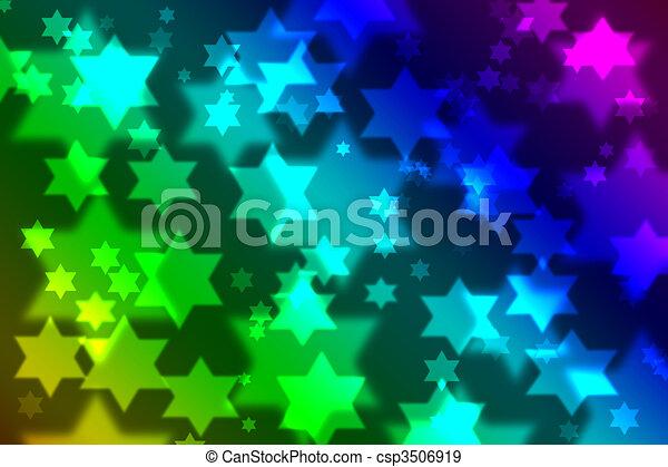 Jewish star celebration background bokeh - csp3506919