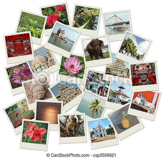 Stack of photo shots with Southern India landmarks - csp3506921