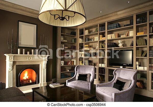 photo de vivant chemin e salle biblioth que grand vivant csp3506944 recherchez des. Black Bedroom Furniture Sets. Home Design Ideas