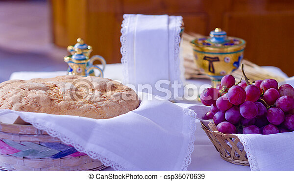 The wine and the bread become the blood and body of Christ
