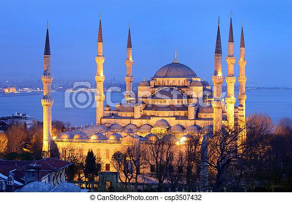 bleu, mosquée,  istanbul - csp3507432