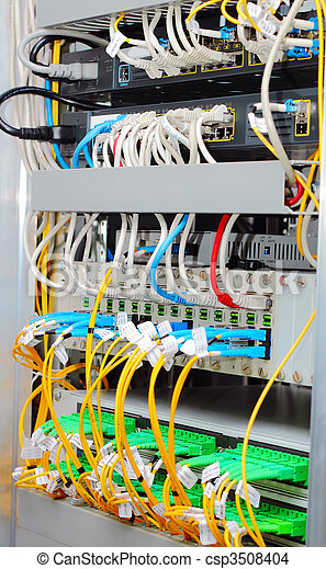 fiber optic datacenter with media converters and optical cables - csp3508404