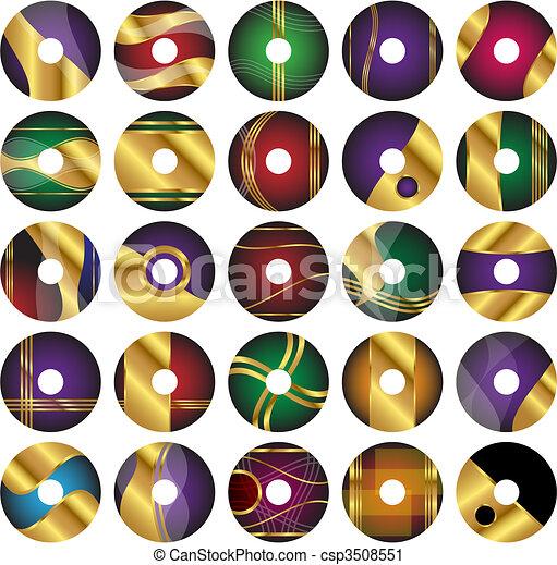 25 CD or DVD Vector Label Templates - csp3508551