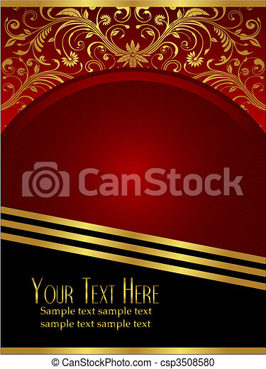 Royal Burgundy Background with Ornate Gold Leaf - csp3508580